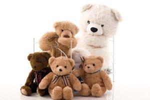La familie de nounours. Les ours en marron et blanc.